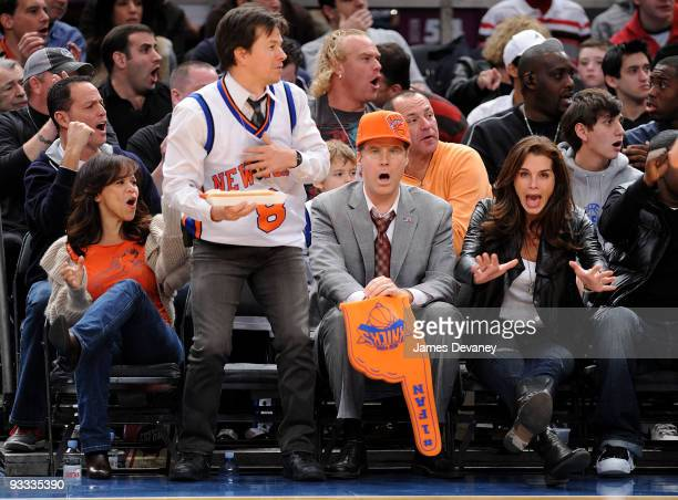Rosie Perez Mark Wahlberg Will Ferrell and Brooke Shields on location for 'The Other Guys' at the Boston Celtics game against the New York Knicks at...