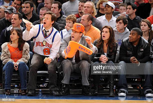 Rosie Perez Mark Wahlberg Will Ferrell Brooke Shields and Tracy Morgan attend the Boston Celtics game against the New York Knicks at Madison Square...