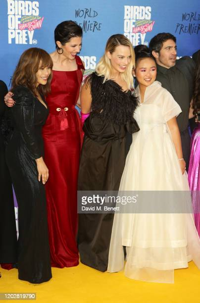 Rosie Perez Mary Elizabeth Winstead Margot Robbie Ella Jay Basco and Chris Messina attend the World Premiere of Birds Of Prey at the Odeon IMAX...