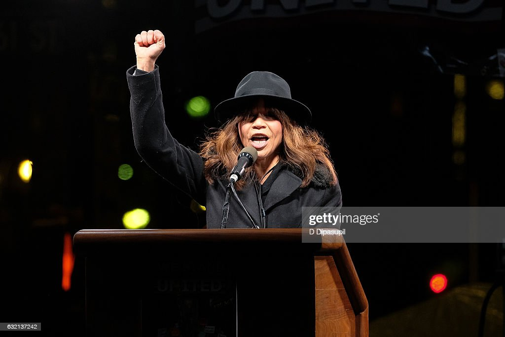 Rosie Perez speaks onstage during the We Stand United NYC Rally outside Trump International Hotel & Tower on January 19, 2017 in New York City.