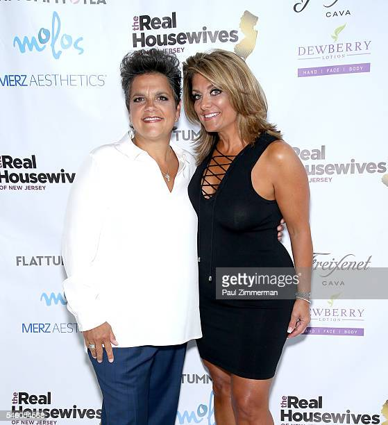 Rosie Pierri and Kathy Wakile attend the 'Real Housewives Of New Jersey' Season 7 Premiere Party at Molos on July 10 2016 in Weehawken New Jersey