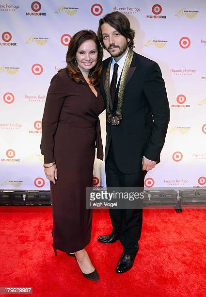 Rosie Rios Treasurer of the United States and actor/director/producer Diego Luna who received the Inspira Award attend the 26th Annual Hispanic...