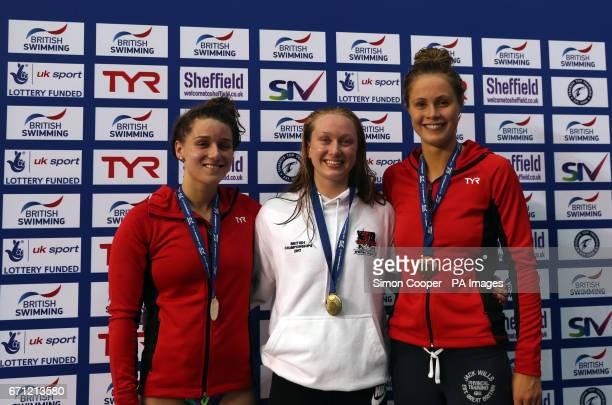 Rosie Rudin winner and gold medalist of the Women's Open 200m Backstroke Final silver medalist Jessica Fullalove and bronze medalist Charlotte Evans...