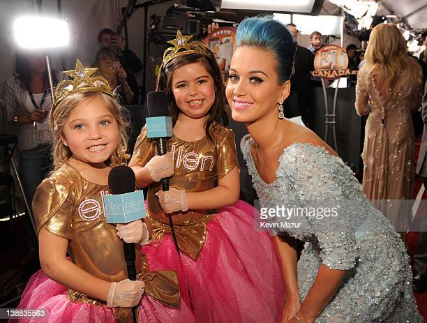 Rosie Sophia Grace and Katy Perry arrive at The 54th Annual GRAMMY Awards at Staples Center on February 12 2012 in Los Angeles California