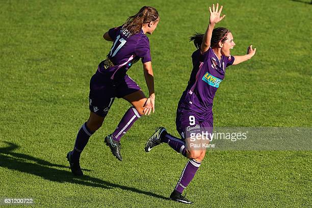 Rosie Sutton of the Glory celebrates a goal during the round 11 WLeague match between the Perth Glory and Melbourne Victory at Dorrien Gardens on...