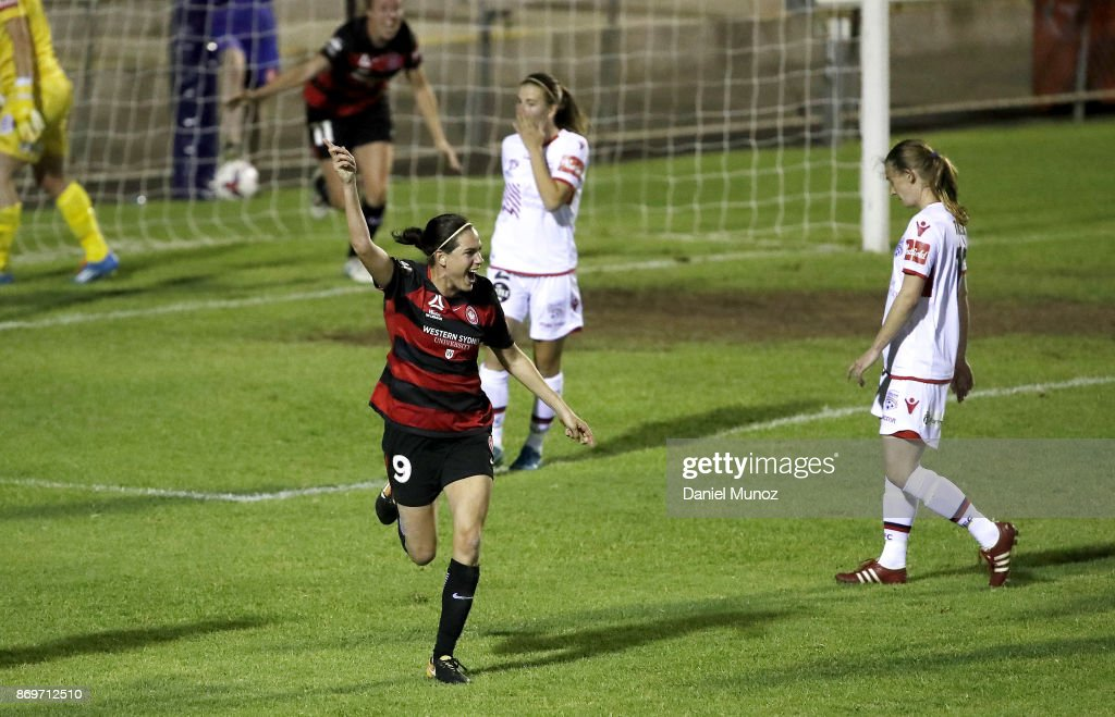 Rosie Sutton of the Wanderers celebrates after scoring during the round two W-League match between the Western Wanderers and Adelaide United at Marconi Stadium on November 3, 2017 in Sydney, Australia.