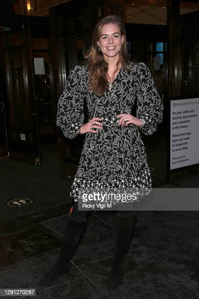 """Rosie Tapner seen attending the """"A Christmas Carol"""" opening night at the Dominion Theatre on December 14, 2020 in London, England."""