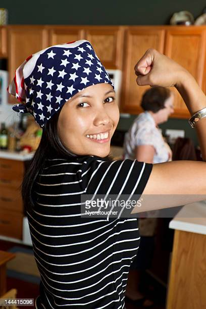 rosie the riveter and the modern woman - rosie the riveter stock pictures, royalty-free photos & images