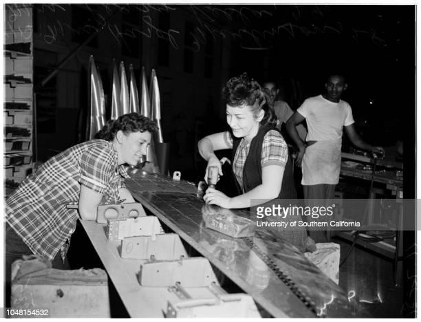 Rosie the Riveter' Lockheed Aircraft 2 November 1951 Mrs Penny Shepherd 27 years Mrs Hazel Martinson 28 years Mrs Peggy Vella 29 years Mrs Alvera...