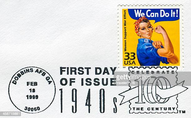rosie the riveter stamp - rosie the riveter stock pictures, royalty-free photos & images