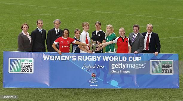 Rosie Williams managing director of RFUW Philippe Bourdarias tournament director Mike Miller managing director of RWC Non Evans Wales Sarah Gill...