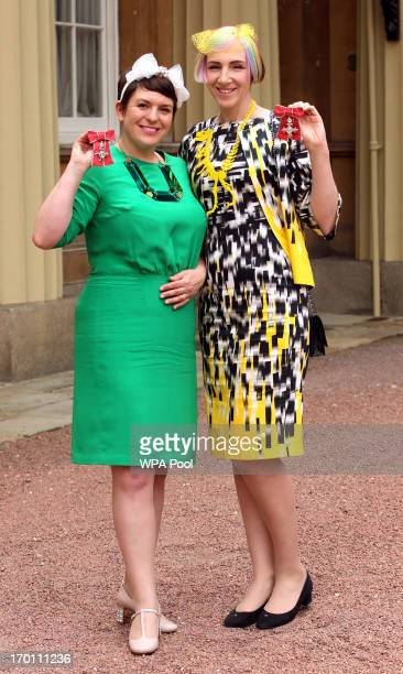 Rosie Wolfenden and Harriet Vine after receiving their MBE medals presented to them by the Prince of Wales at an Investiture ceremony at Buckingham...