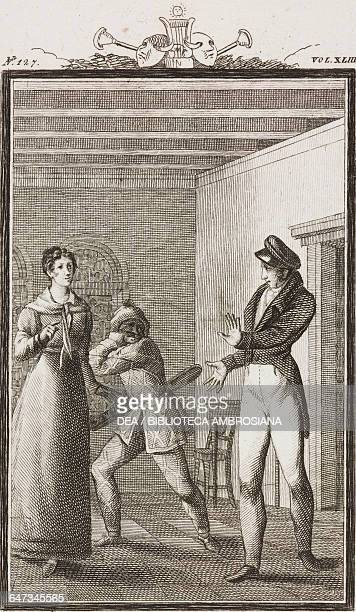 Rosina Traccagnino and Ridolfo engraving by Antonio Viviani from a drawing by G Steneri from The Good Compatriot Act II Scene 6 Comedies Volume 43 by...