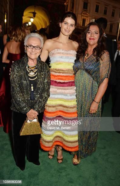 Rosita Missoni, Isabeli Fontana, wearing Missoni, and Angela Missoni attend The Green Carpet Fashion Awards Italia 2018 at Teatro Alla Scala on...