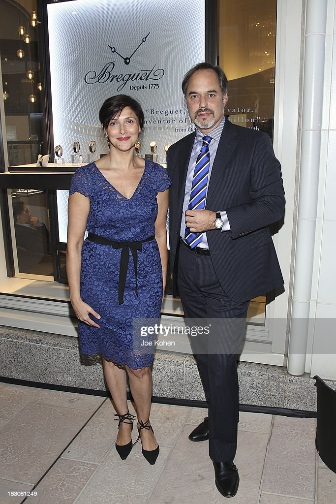 Rosita Wheeler Director Corporate Communications Swatch Group U.S (LL) and Frank Furlan President Swatch Group U.S attends 'Breguet The Innovator. Inventor Of The Tourbillion' Global traveling exhibition at Breguet Boutique on October 3, 2013 in Beverly Hills, California.