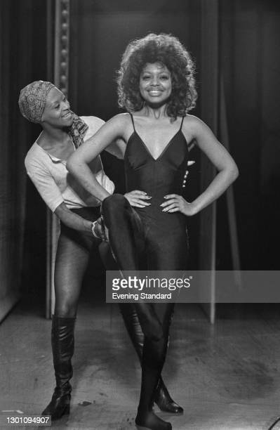 Rosita Yarboy of the Cheryl St Clair Dancers, with American actress and singer Mona Richardson , UK, 2nd August 1973.