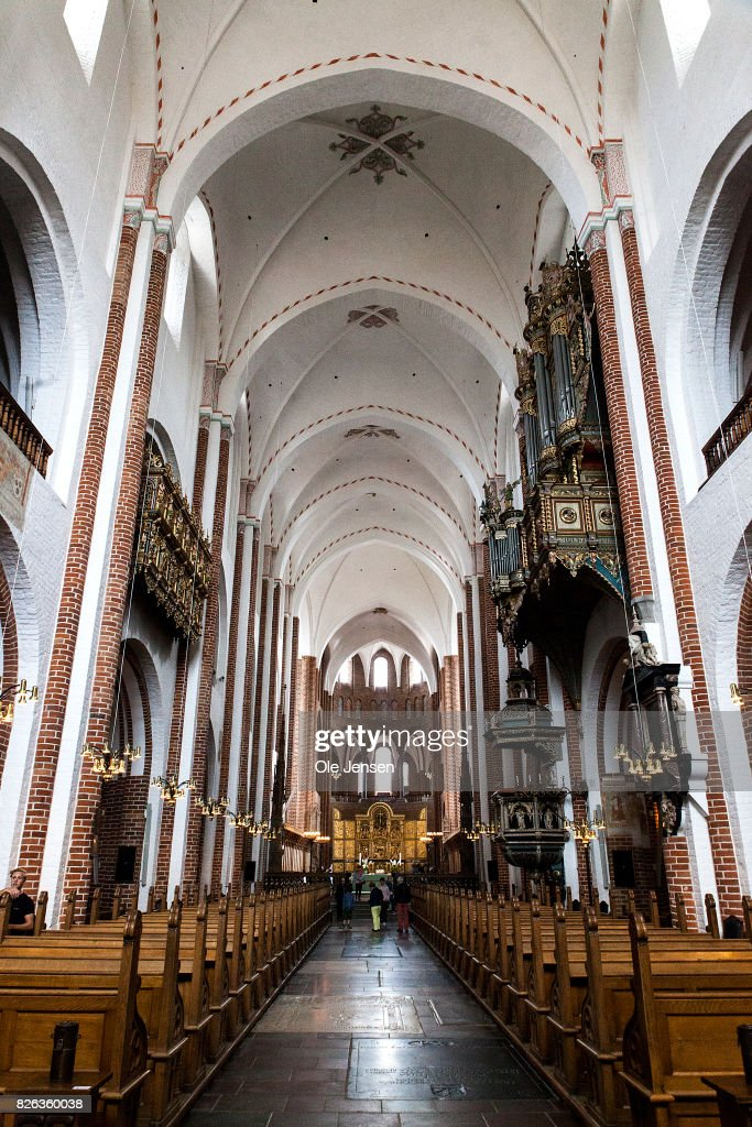 Roskilde Cathedral is seen on August 4, 2017 in Roskilde, Denmark. Danish Prince Henrik announced yesterday that he will not as planned accept to be buried with his wife Queen Margrethe. In an exclusive interview with the Danish daily, BT, royal communication manager Lene Balleby said that the Prince's decision is a consequence of the fact that he has not had equal status to the Queen. The Palace underlines that this does not mean that the Prince would be buried in another country.The sarcophagus has been created by Danish artist Bjoern Noegaard.
