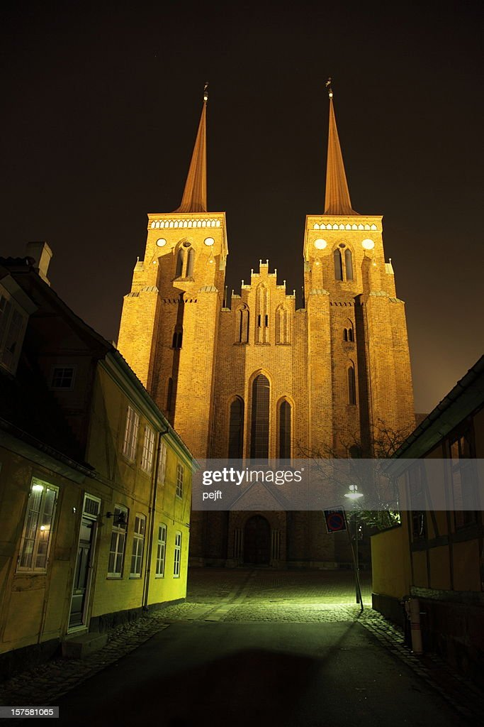 Roskilde Domkirke (Cathedral) at night - Tomb of the Kings! : Stock Photo