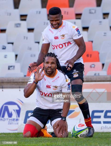 Rosko Specman and Malcolm Jaer of Toyota Cheetahs celebrates scoring a try during the Super Rugby Unlocked match between Toyota Cheetahs and Phakisa...