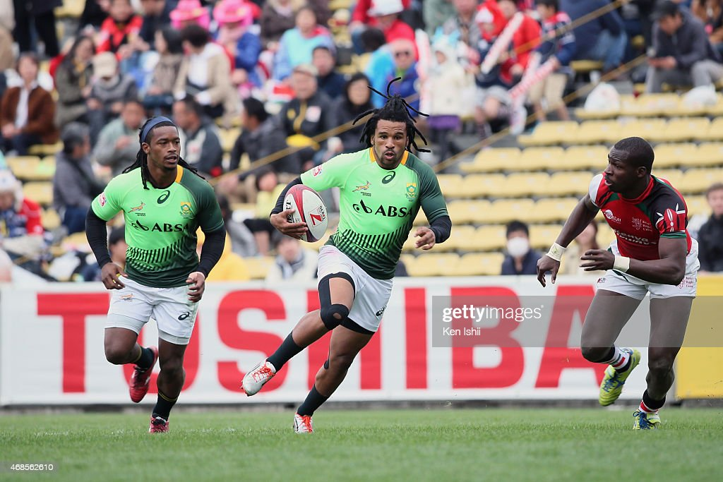 Rosko Specman #10 of South Africa breaks in the game between South Africa and Kenya during day one of the Tokyo Sevens Rugby 2015 on April 4, 2015 in Tokyo, Japan.