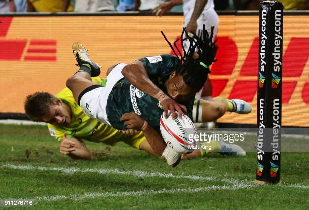 Rosko Specman of South Africa dives into the corner before a no try was ruled in the Men's final match against Australia during day three of the 2018...