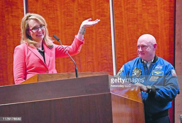 Former congresswoman Gabby Giffords and her husband retired Astronaut Mark Kelly speak at Temple Sinai of Roslyn in Roslyn, New York on the evening...