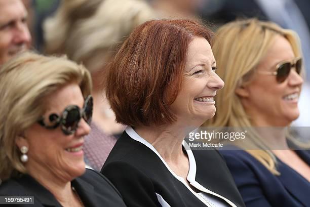 Roslyn Packer Australian Prime Minister Julia Gillard and Leila Mckinnon smile during the Tony Greig memorial service at Sydney Cricket Ground on...