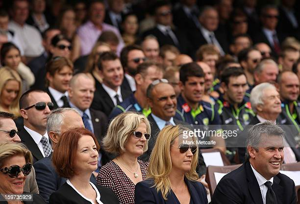 Roslyn Packer Australian Prime Minister Julia Gillard Leila Mckinnon and David Gyngel attend the Tony Greig memorial service at Sydney Cricket Ground...