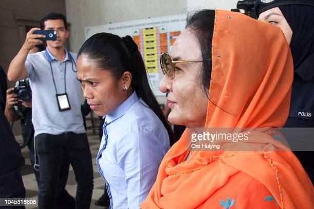 Rosmah Mansor wife of Malaysia's former Prime Minister Najip Razak departs the Kuala Lumpur High Court on October 4 2018 in Kuala Lumpur Malaysia The...