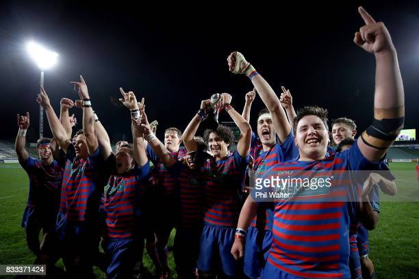 Rosmini College celebrate following the North Harbour First XV 1A Final between Westlake Boys Huigh School and Rosmini College at QBE Stadium on...