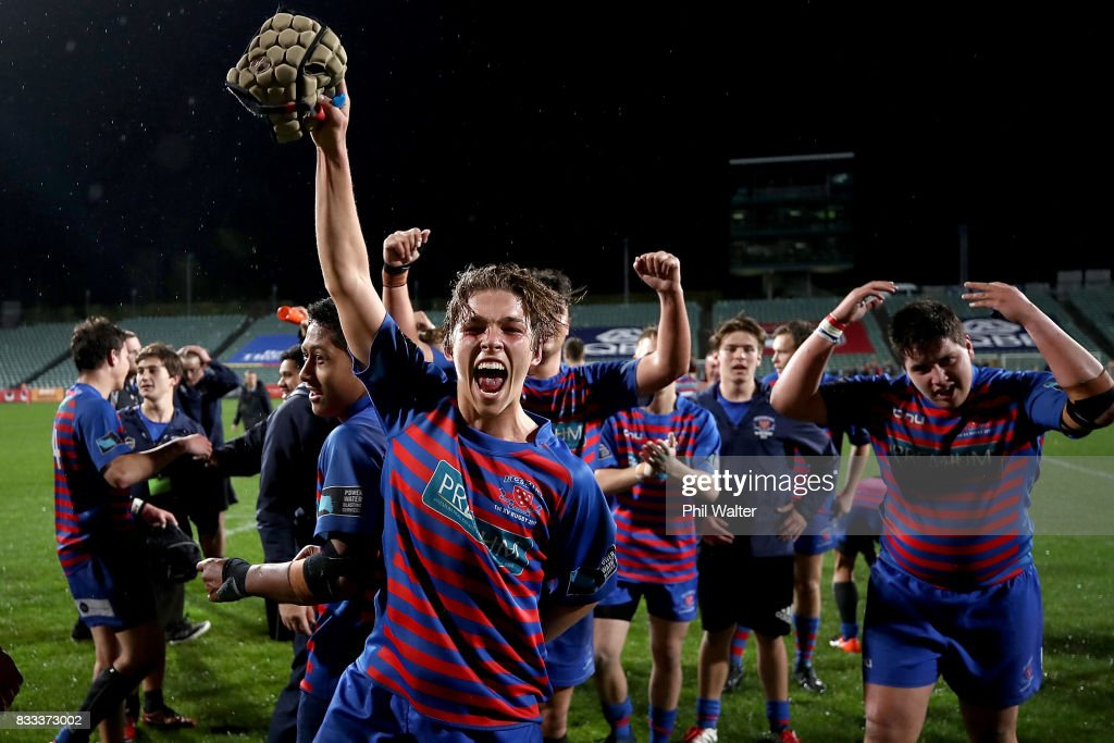 Rosmini College celebrate following the North Harbour First XV 1A Final between Westlake Boys Huigh School and Rosmini College at QBE Stadium on August 17, 2017 in Auckland, New Zealand.
