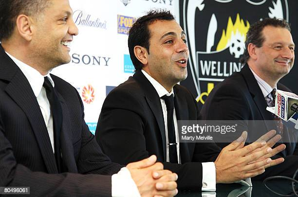 Ross Aloisi captain of the Phoenix announces his retirement to the media with Terry Serepisos owner of the Phoenix and CEO Tony Pignata during a...