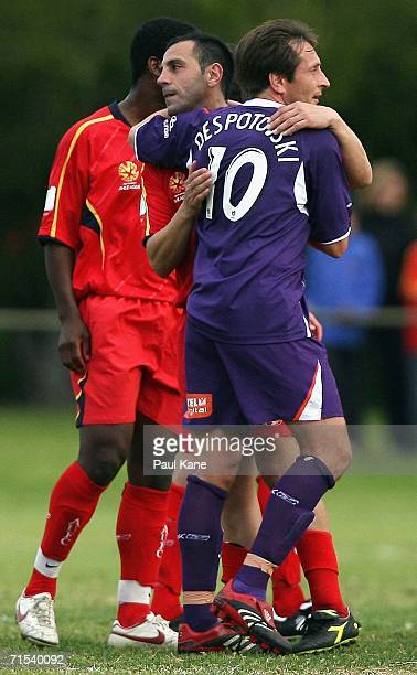 Ross Aloisi of United and Bobby Despotovski of the Glory acknowledge each other after the round three ALeague PreSeason Cup match between the Perth...