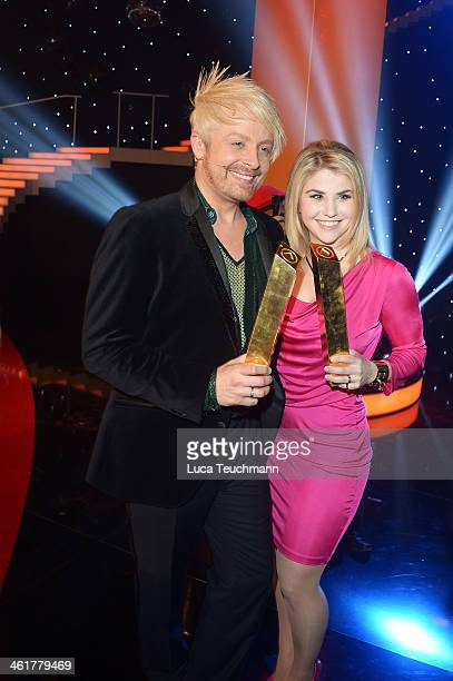 Ross Antony and Beatrice Egli performs 'Das grosse Fest der Besten' at Velodrom on January 10 2014 in Berlin Germany