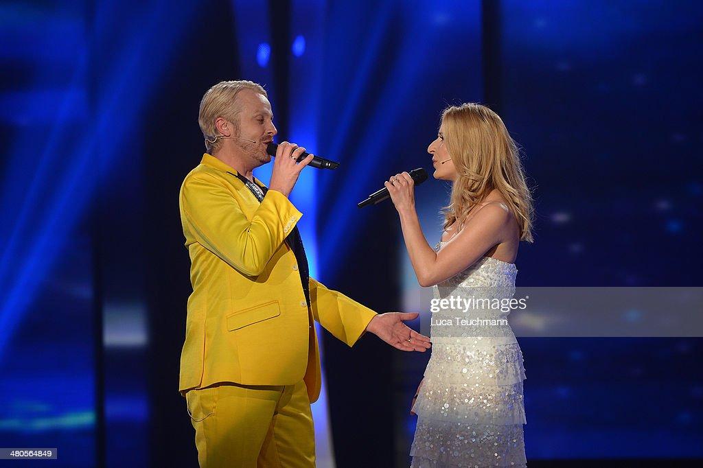 Ross Antony and Stefanie Hertel perform 'Stefanie Hertel - Die grosse Show der Stars' Show Taping at Jahrhunderthalle on March 25, 2014 in Leuna, Germany.