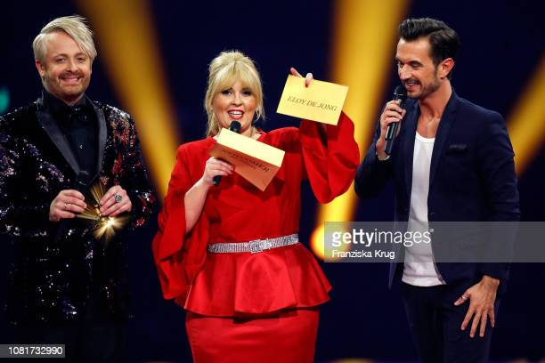 Ross Antony, Maite Kelly and Florian Silbereisen during the television show 'Schlagerchampions - Das grosse Fest der Besten' at Velodrom on January...