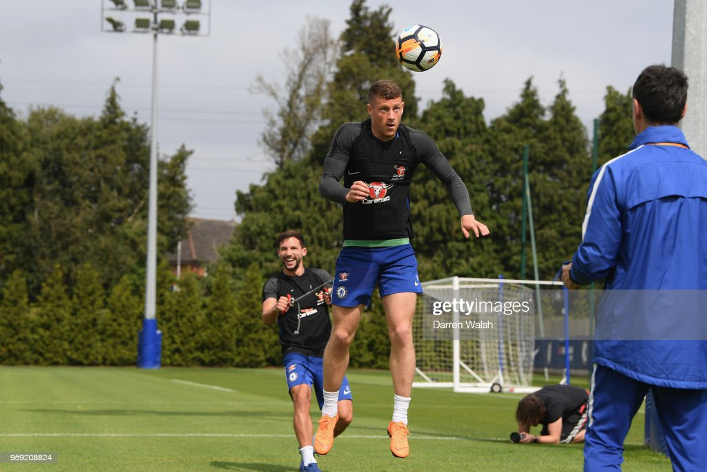 Ross Barkley and Danny Drinkwater of Chelsea during a Strength and Conditioning training session at Chelsea Training Ground on May 16, 2018 in Cobham, England.