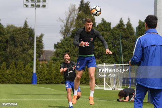 Ross Barkley and Danny Drinkwater of Chelsea during a Strength and Conditioning training session at Chelsea Training Ground on May 16 2018 in Cobham...