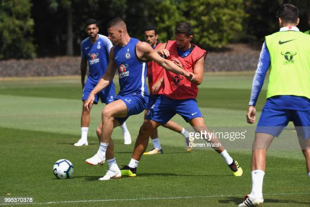 Ross Barkley and Danny Drinkwater of Chelsea during a training session at Chelsea Training Ground on July 10 2018 in Cobham England