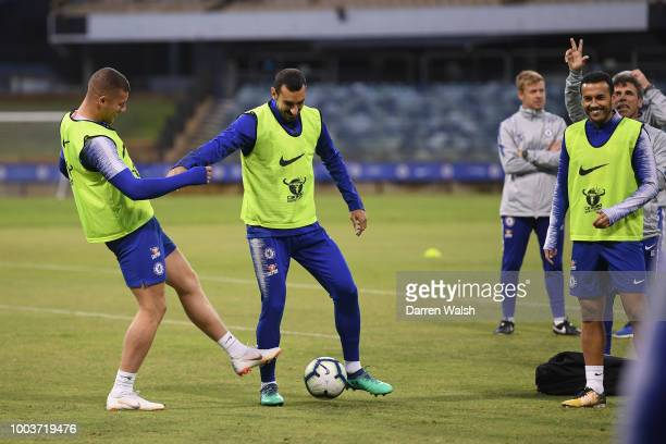 Ross Barkley and Davide Zappacosta of Chelsea during a training session at the WACA on July 22 2018 in Perth Australia