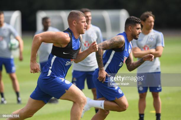 Ross Barkley and Emerson of Chelsea during a training session at Chelsea Training Ground on July 9 2018 in Cobham England