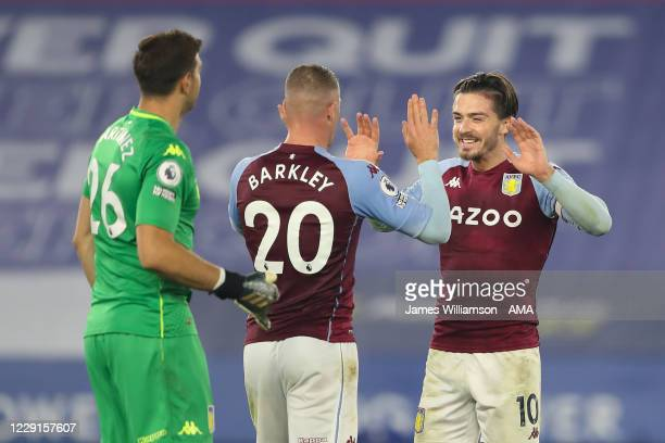 Ross Barkley and Jack Grealish of Aston Villa at full time of the Premier League match between Leicester City and Aston Villa at The King Power...