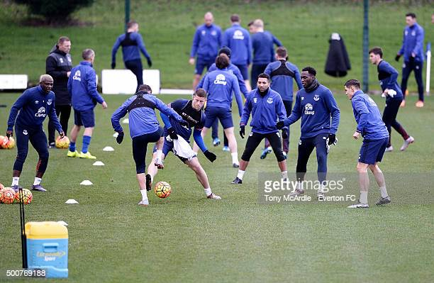 Ross Barkley and Romelu Lukaku with team mates during the Everton training session at Finch Farm on December 10 2015 in Halewood England