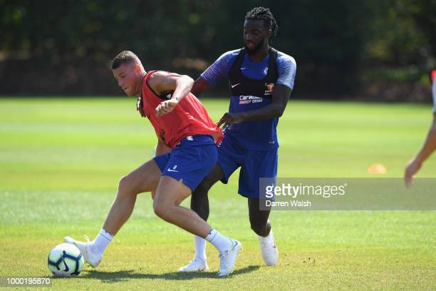 Ross Barkley and Tiemoue Bakayoko of Chelsea during a training session at Chelsea Training Ground on July 16 2018 in Cobham England