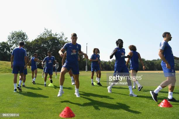 Ross Barkley and Tiemoue Bakayoko of Chelsea during a training session at Chelsea Training Ground on July 7 2018 in Cobham England