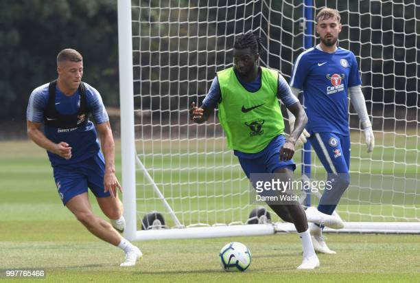 Ross Barkley and Tiemoue Bakayoko of Chelsea during a training session at Chelsea Training Ground on July 13 2018 in Cobham England