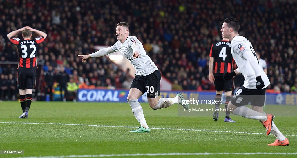 Ross Barkley celebrates his goal during the The Emirates FA Cup Fifth Round match between AFC Bournemouth v Everton at the Vitality Stadium on February 20, 2016 in Bournemouth, England.