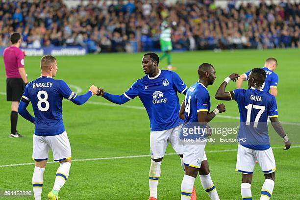 Ross Barkley celebrates his goal with Romelu Lukaku during the EFL Cup match between Everton and Yeovil Town at Goodison Park on August 23 2016 in...