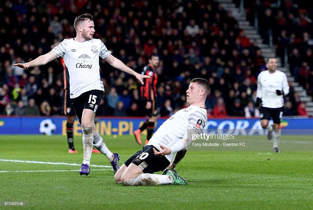 Ross Barkley celebrates his goal with Tom Cleverley during the The Emirates FA Cup Fifth Round match between AFC Bournemouth v Everton at the Vitality Stadium on February 20, 2016 in Bournemouth, England.