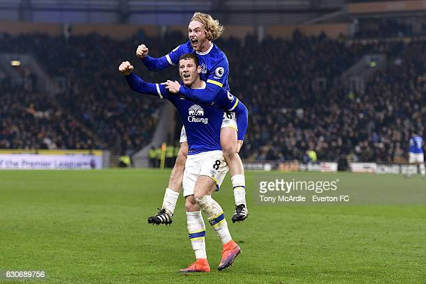 Ross Barkley celebrates his goal with Tom Davies during the Barclays Premier League match between Hull City and Everton at the KC Stadium on December...